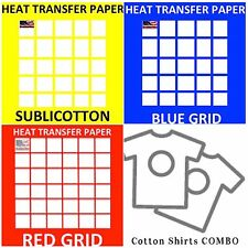Transfer Papers For COTTON Shirts COMBO 10 Shts Each, RED Grid, IDT, Sublicotton