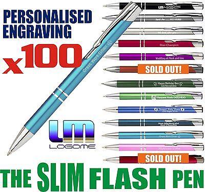 100 x Personalised ENGRAVED SLIM FLASH Metal Pens Wedding Gift Business Schools