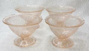 Set of 4 Vintage Royal Lace Sherbet Hazel Atlas Pink Depression Glass Dishes