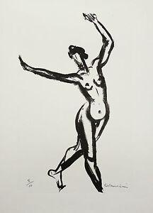 René COLLAMARINI (1904-1983)DANSE MODERNE NU NUDE RARE LITHOGRAPHIE musée Rodin