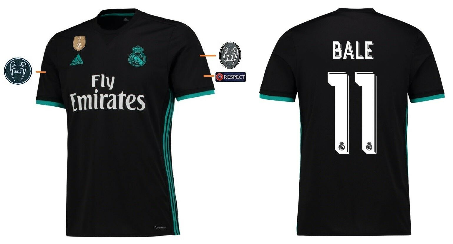Trikot Real Madrid 2017-2018 Away UCL - Bale 11  Champions League  | Neue Produkte im Jahr 2019