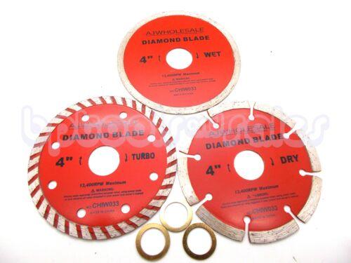 "3-pc 4/"" Diamond Blades DRY//WET//TURBO Saw Blade Wheels Tile Concrete 13,400RPM"