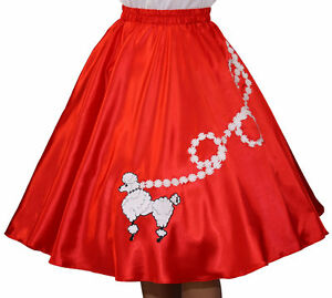 New-Red-SATIN-50s-Poodle-Skirt-Adult-Size-SMALL-Waist-25-034-30-034-Length-25-034