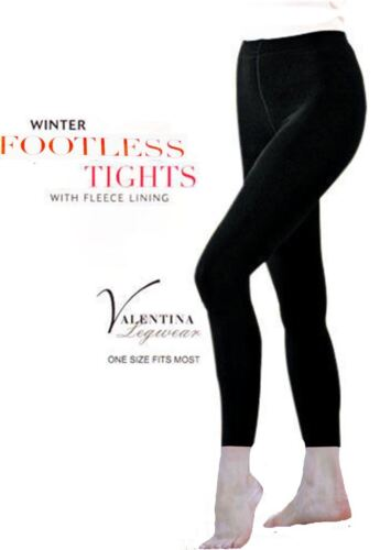 LADIES BLACK THICK FULL FOOT FOOTLESS FLEECE LINED WINTER WARM STRETCH TIGHTS