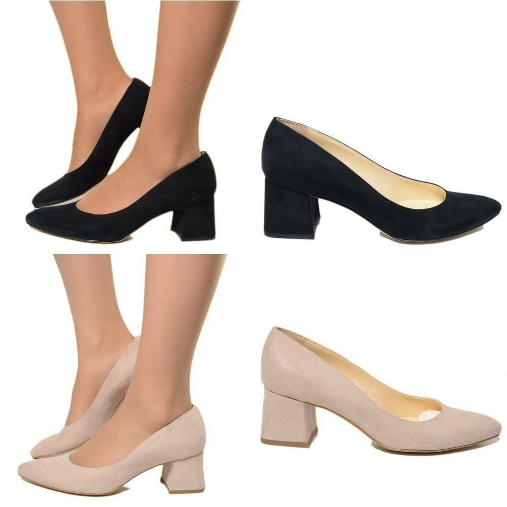 Decoltè Donna Ecopelle Punta Tacco Largo 5 cm MADE IN ITALY Ballerine 1520