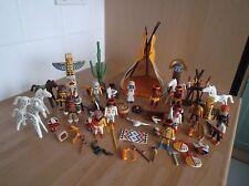 Lote De Playmobil trabajo de nativo americano idians y un montón de diferentes Accesorios.