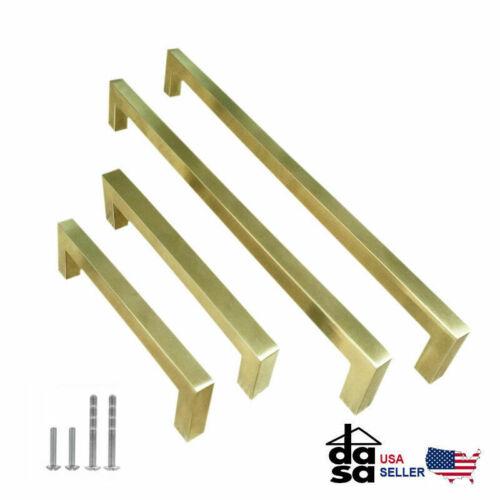 "Brushed Brass Square Drawer Pulls Gold Kitchen Cabinet Knob Door Ø1//2/"""