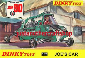 Dinky-Toys-102-Joe-039-s-Car-Joe-90-Gerry-Anderson-A4-tamano-poster-prospecto-signo-de-tienda