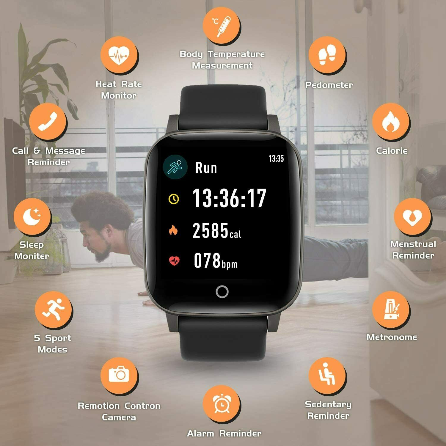 Smart Band Watch Body Thermometer Temperature Heart Rate Monitor Fitness band body Featured fitness heart monitor rate smart temperature thermometer watch