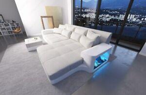 Bigsofa Design Megasofa Luxus Eck Couch MILANO LED Leder Stoff ...