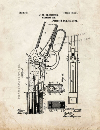 Winchester 1894 lever action Rifle Patent Print Old Look