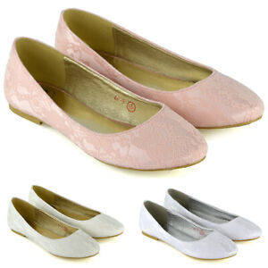 Womens-Lace-Wedding-Shoes-Ladies-Flat-Slip-On-Bridesmaid-Pumps-Size-3-9