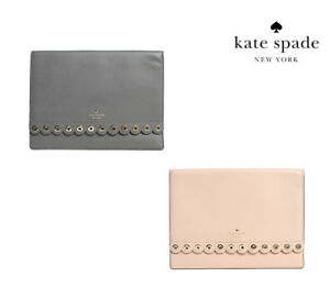 b6d62e9a983 NWT KATE SPADE NEW YORK Paloma Road MALLO Clutch Studs Grey Cream ...