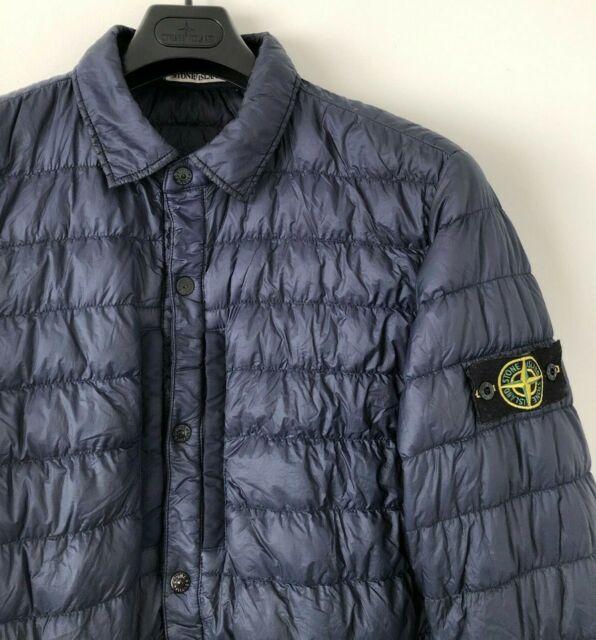 Stone Island blau Kleidungsstück gefärbt Micro Garn unten gepolsterte Overshirt Jacke XL Scientific
