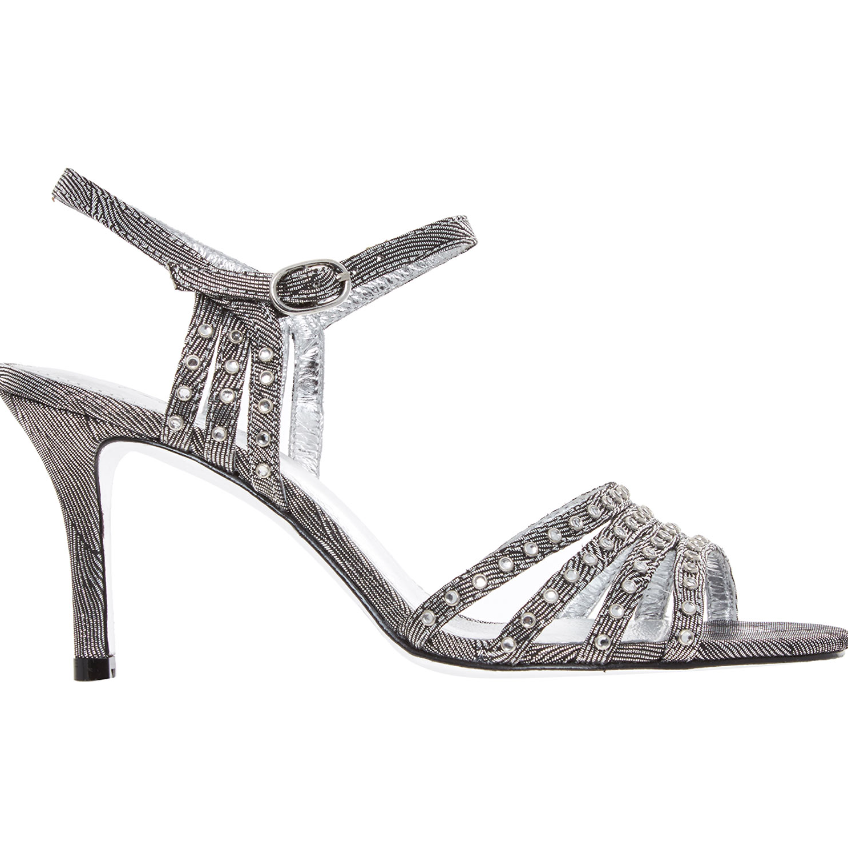 BNIB ADRIANNA PAPELL SILVER WAVE METALLIC DIAMOND HEEL SHOES UK 3.5 EU 36.5