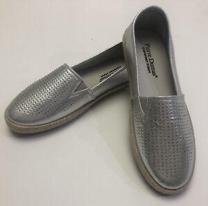 New-Pierre-Dumas-Womens-Silver-Rhinestone-Slip-On-Sneaker-Loafer-Shoes-Size-8