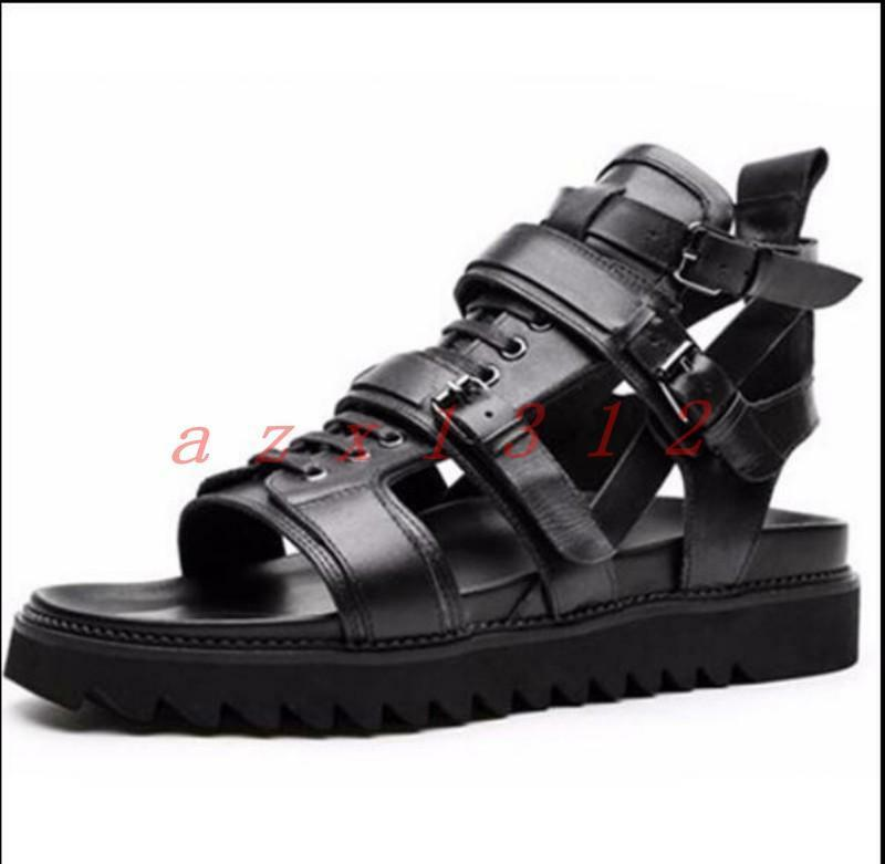 Hot Sale Uomo Buckles Open Toe Punk Zip Shoes Pelle Lace Up High Top Sandals