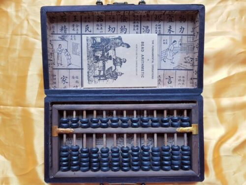 Boulier Chinois 13 tiges-Suanpan-Chinese Abacus-Abakus-Abaco-oiseau fleurs rouge