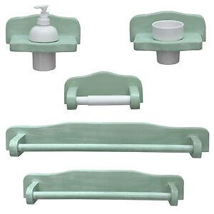 Dettagli su Set accessori bagno completo legno finitura decapè verde arredo  shabby classico
