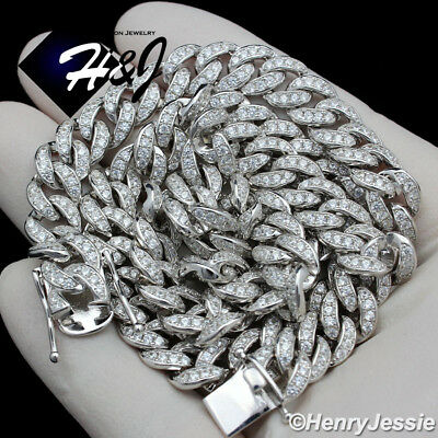 """24/""""MEN 925 STERLING SILVER 8MM ICED LAB DIAMOND MIAMI CUBAN CHAIN NECKLACE*SN11"""