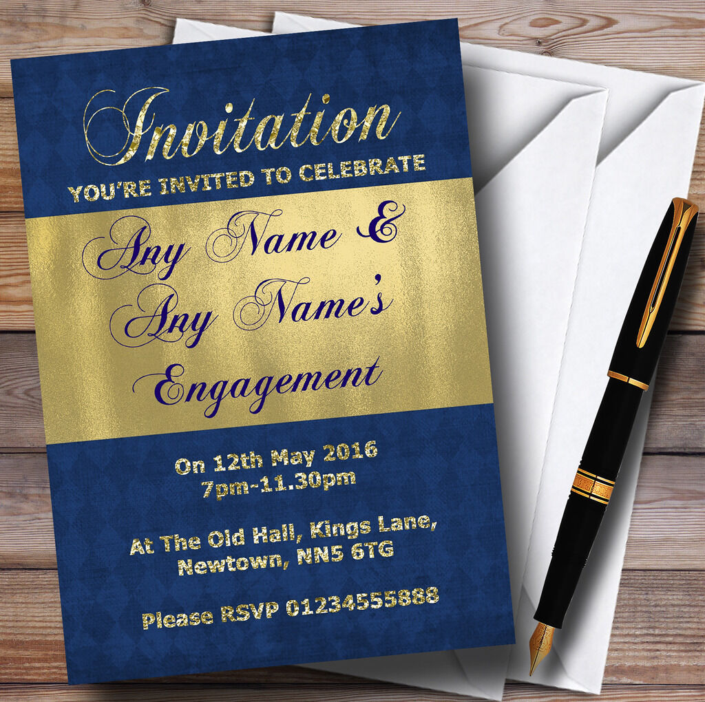 Blau And Glitter Look Gold Engagement Party Personalised Invitations