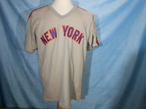 los angeles 06027 f9c22 Details about NEW YORK METS RAWLINGS GREY VINTAGE MLB BASEBALL JERSEY  1970'S 3B2