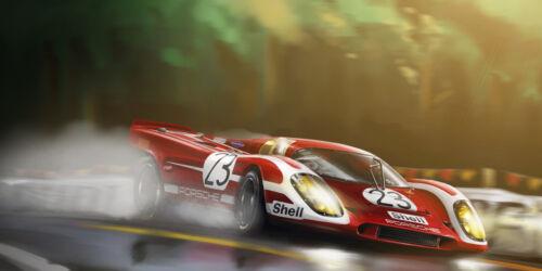 VINTAGE PORSCHE 917 GRAND PRIX RACE CAR ART POSTER PRINT 36x72 BIG 9MIL PAPER