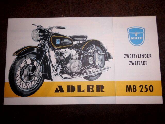 ADLER MB 250 PROSPEKT KLEYER ZWEIZYLINDER MOTORRAD OLDTIMER