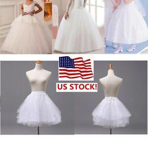 US-Girls-Petticoat-Underskirt-Crinoline-Slip-A-Line-Flower-Girl-Wedding-Dress