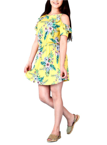 Kids Girls Yellow Printed Frill Cold Shoulder Skater Dress Age Year 9-13 Years