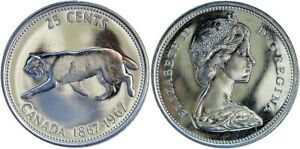 1967-Canada-Brilliant-Bobcat-Silver-Quarter-Error-2333-25c-Cents-Die-Chip-on-Leg
