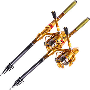 Gold telescopic fishing rod and reel saltwater spinning for Saltwater fishing rod and reel combos
