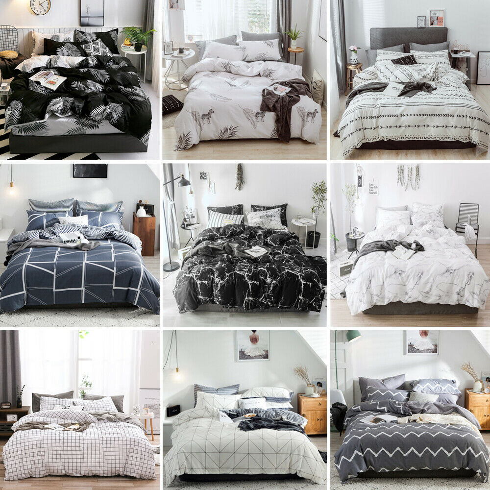 Modern Printed Duvet Quilt Cover Bedding Set Twin Queen Full King US Size