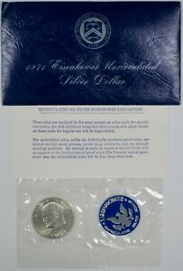 1971-S-Uncirculated-40-Silver-Eisenhower-IKE-Dollar-Coin-Mint-Packaging-UNC