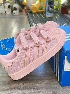 NWOB-ADIDAS-S76620-Pink-Girls-039-Superstar-CF-1-Sneakers-Sz-7K-8K