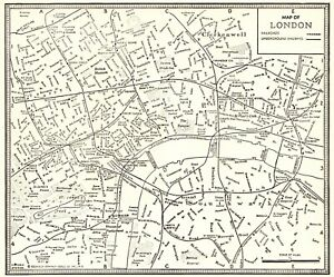 London In England Map.1935 Antique London Map Vintage Black White City Map Of London
