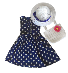 Polka Dot Dress Set with Hat and Bag  2T// 3T// 4T
