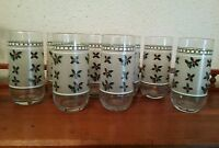 8 Christmas Holiday glass tumblers frosted with holly and berries