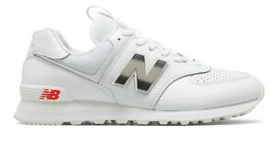 New Balance Men's 574 Shoes White with Red