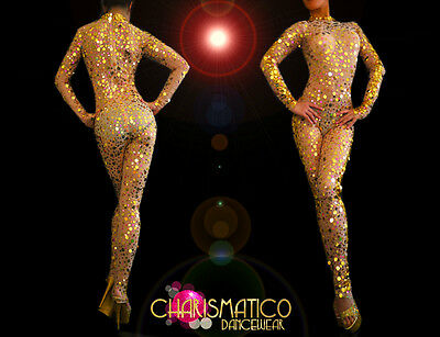 CHARISMATICO Sheer nude Diva's sexy catsuit with shiny golden sequined accents