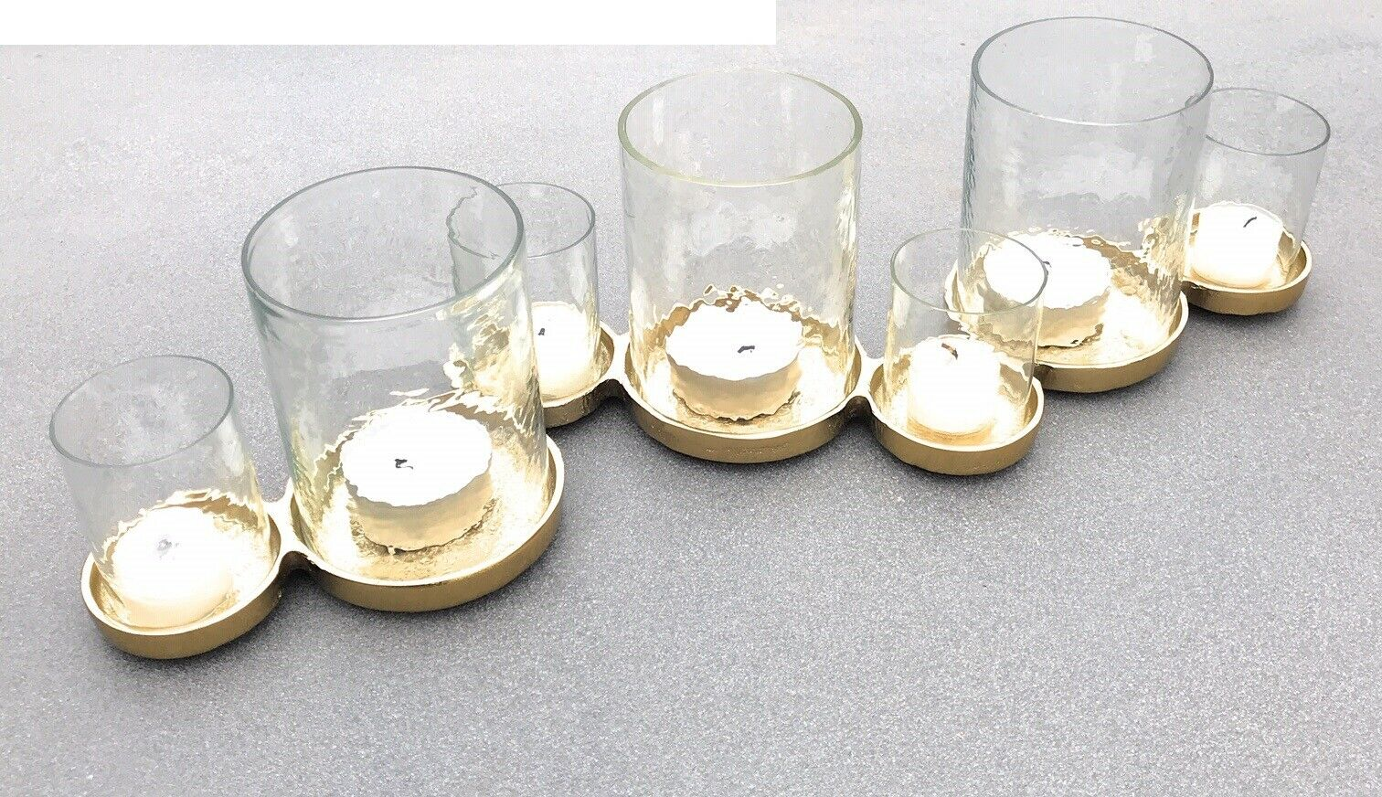 J-Line Teelichthalter Windlicht mit 7 Gläsern Alu Goldfarbend Kerzenhalter 54406