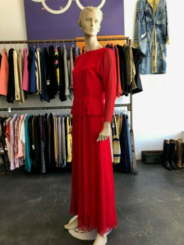 Vintage 80s Holly Harp Red Silk Gown