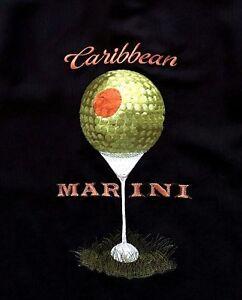 Caribbean-Mens-Hawaiian-Camp-Shirt-Sz-M-Black-w-Embroidered-GOLF-Martini-NWT-89