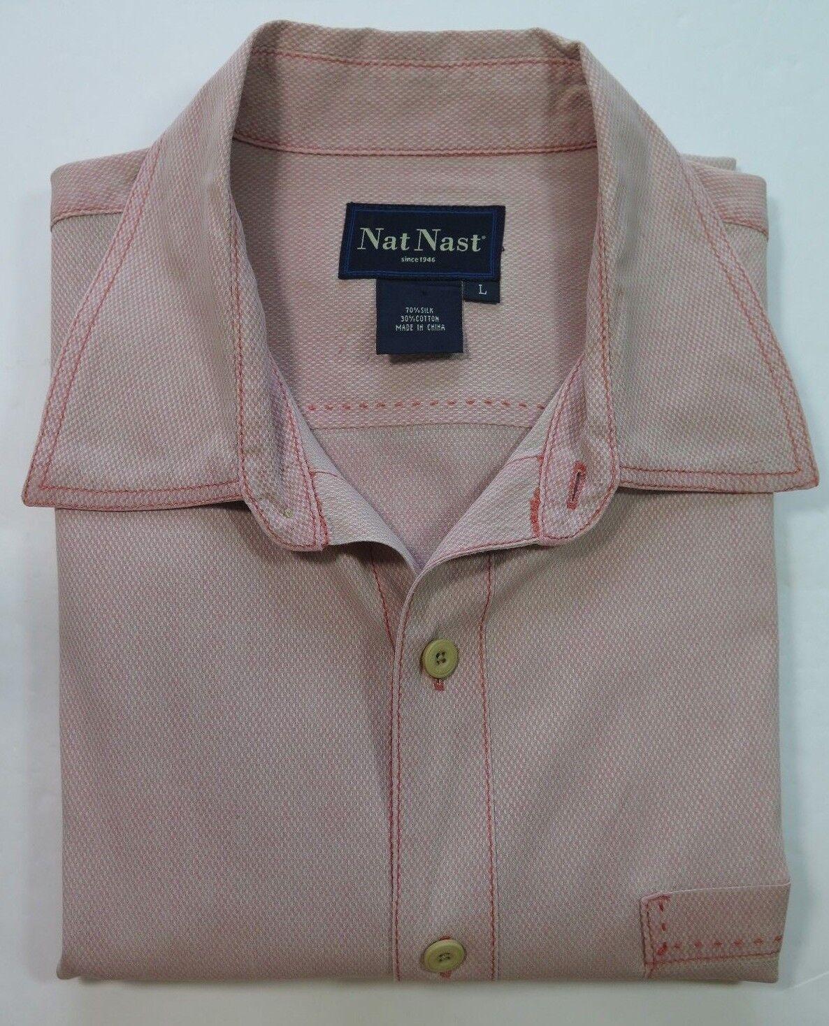 Nat Nast Luxury Original Silk Cotton Tango Red Light orange Camp Shirt Large EUC