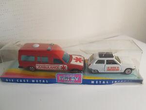 Rare-Lot-Norev-Jetcar-Secours-Ambulance-Mercedes-Renault-5-SOS-Medecin-1-43-neuf