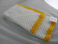 Hand Crochet Baby Blanket. approx. 34 x 38in from knitwitzuk. White/Yellow