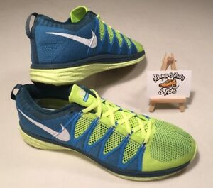 the latest 83c31 48939 Image is loading Mens-Nike-Flyknit-Lunar2-Running-Trainers-Volt-Blue-