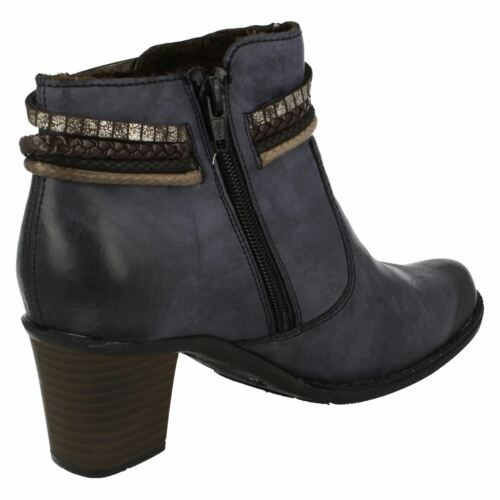 Warm Dettaglio Blu L7658 Rieker Stivaletti Rope Casual Block Zip Heel Lined Donna Up5wqXT