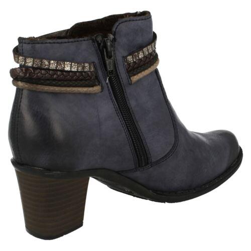 Rieker Block Blu Warm Zip Heel Casual Dettaglio Donna L7658 Rope Lined Stivaletti nfYRP1dqw