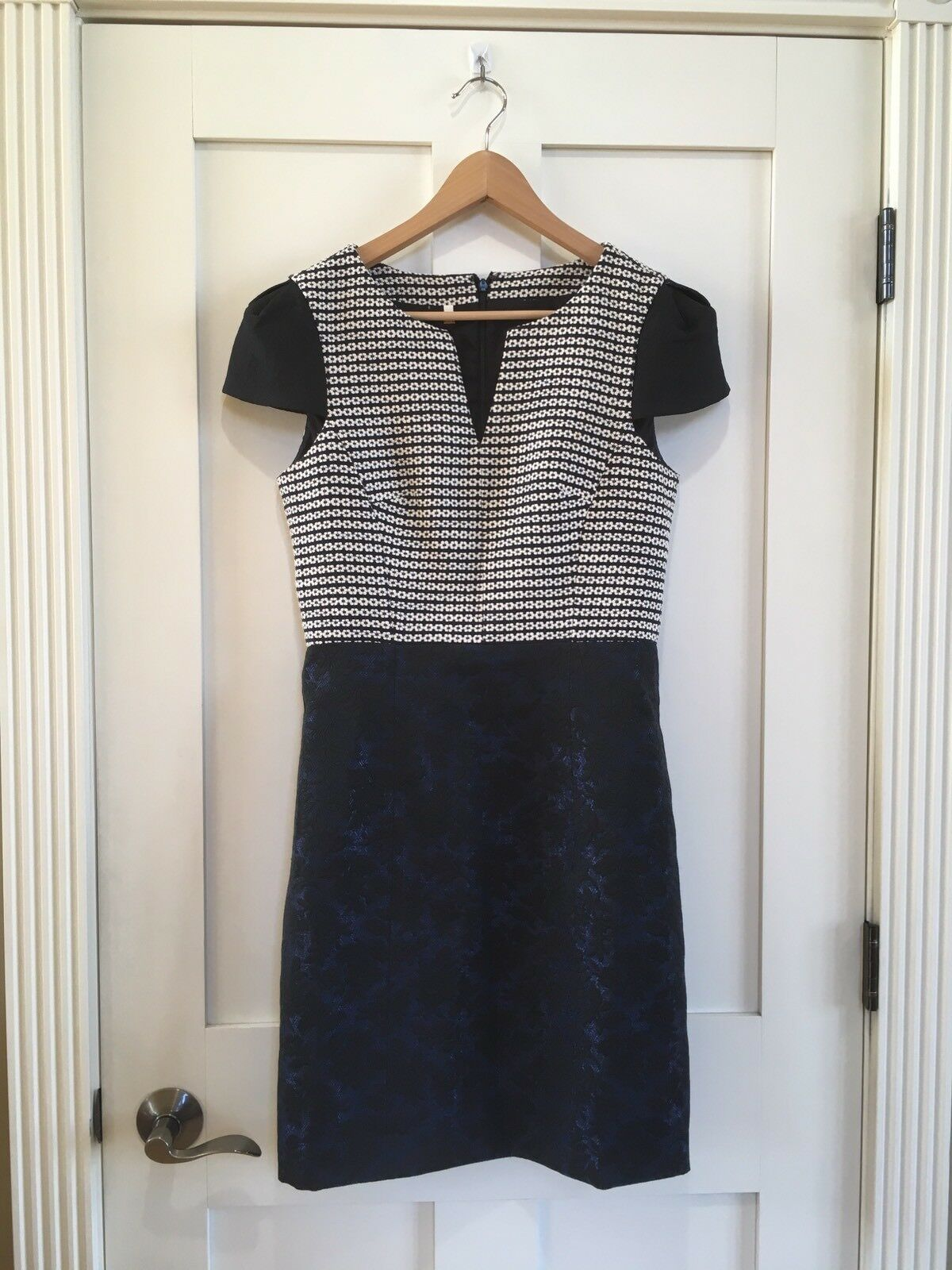 4. Collective Jacquard Floral Cap Sleeve A-line Dress Size 8 Navy